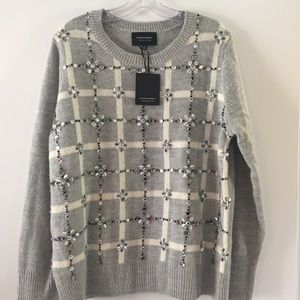 🆕 NWT Banana Republic Plaid Embellished Sweater
